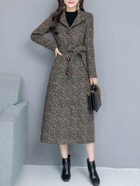 Milanoo Women Grey Coat Turndown Collar Woolen Coat Tie Waist Winter Coat