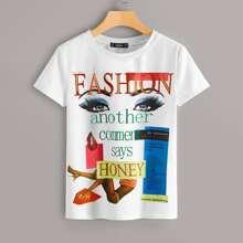 Camiseta con estampado de figura y slogan