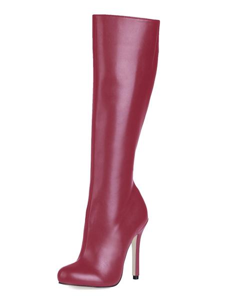 Milanoo Botas hasta la rodilla de PU de puntera cerrada Botas altas mujer negro  botas altas negras 12cm de tacon de stiletto Invierno Oficina/Trabajo