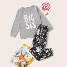 Conjunto de pijama de niñas con estampado floral de letra
