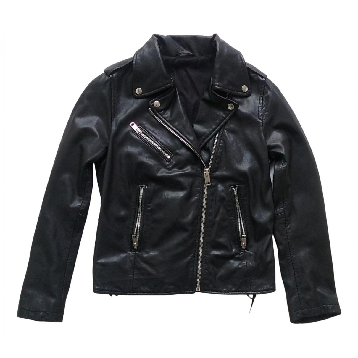 Diesel - Blouson   pour femme en cuir - noir