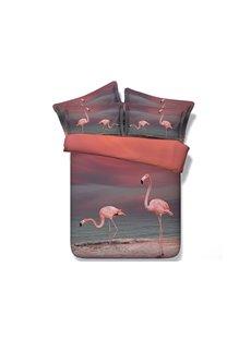 Pink Flamingo Printed Cotton 3D 4-Piece Bedding Sets/Duvet Covers Skin-friendly All-Season Ultra-soft Microfiber No-fading