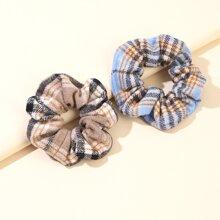 2pcs Plaid Pattern Scrunchie