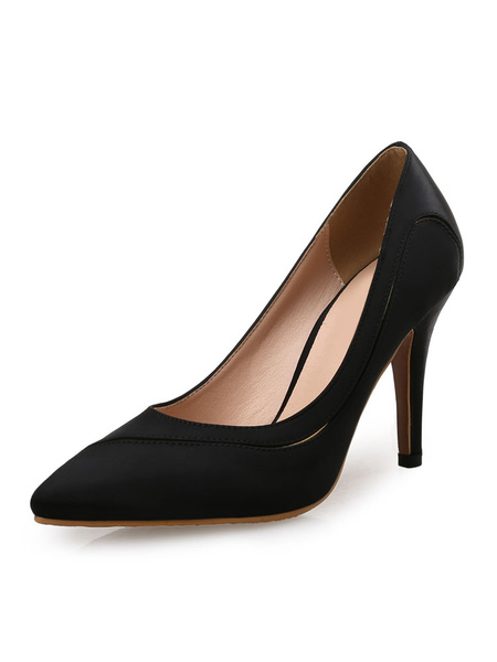 Milanoo Women High Heels Satin Rose Pointed Toe Slip On Pumps Evening Shoes