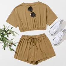 Solid Crop Top & Knot Front Shorts