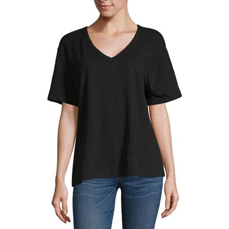 Arizona Womens V Neck Short Sleeve T-Shirt - Juniors, Large , Black