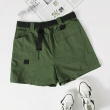 Plus Flap Pocket Buckle Belted Shorts