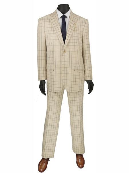 2 Buttons Plaid ~ Window pane Suit Blazer Jacket Pants Beige