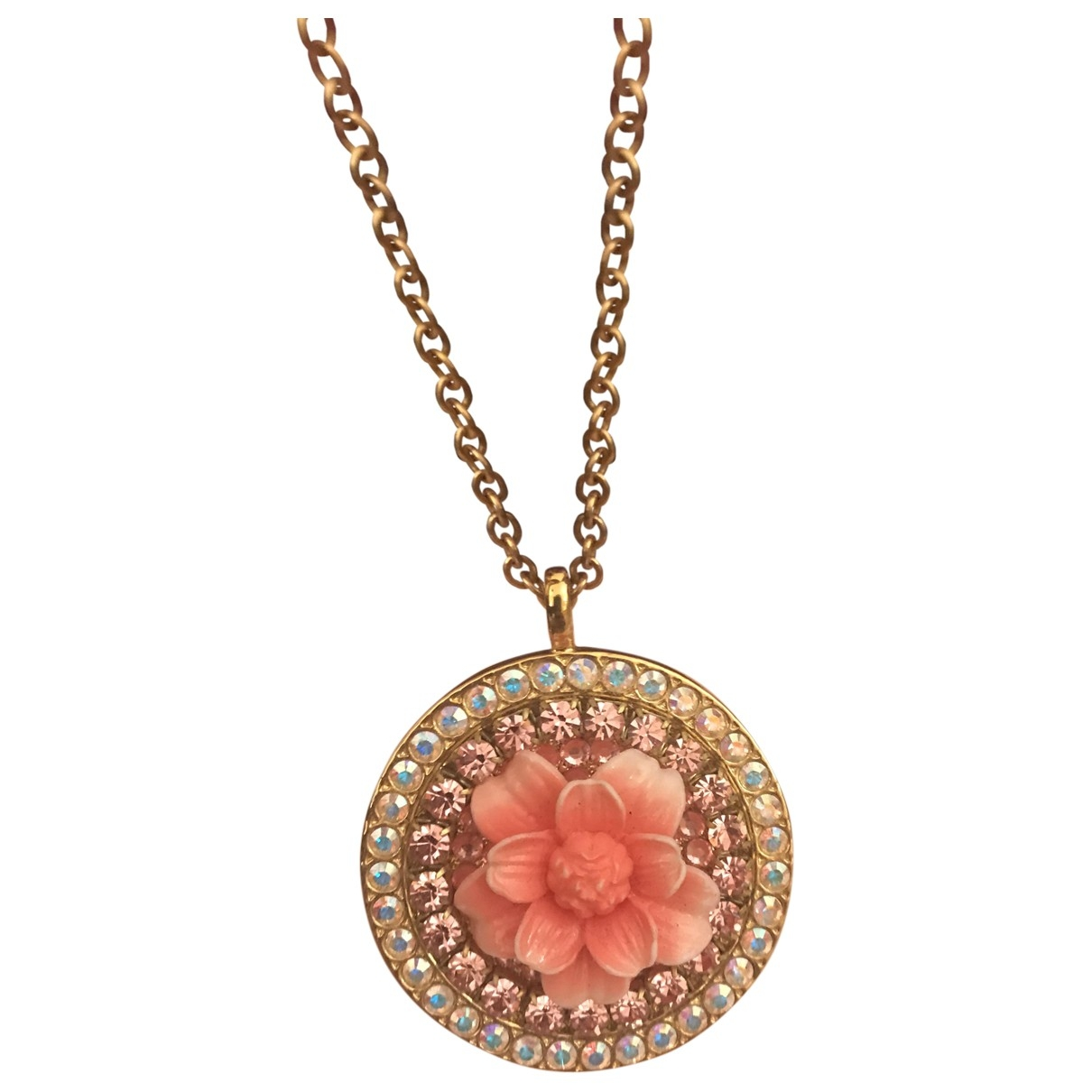 Non Signe / Unsigned Motifs Floraux Kette in  Rosa Metall