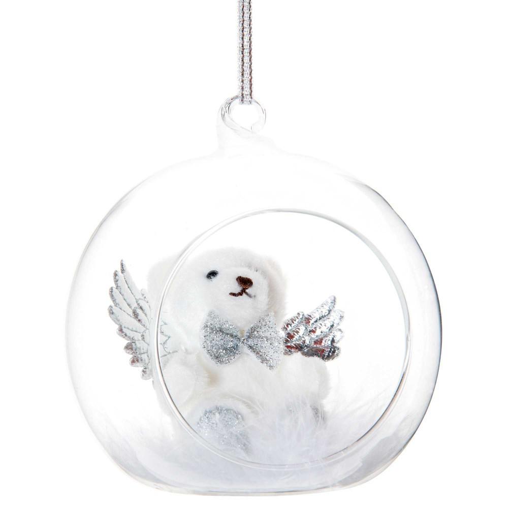 Offene Weihnachtskugel aus Glas mit weissem Baerchen