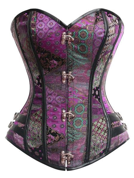 Milanoo Purple Lace Up Bustier Slim Fit Spandex Corsets For Women