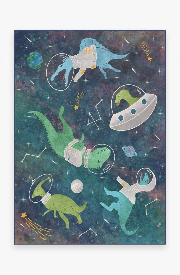 Washable Rug Cover & Pad   Dinosaurs in Space Rug   Stain-Resistant   Ruggable   5'x7'