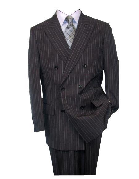 Men's Charcoal Double Breasted Wool Peak Lapel Stripe Suit
