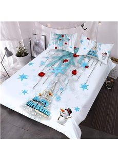 3D Christmas Tree Comforter 3-Piece Warm Comforter Sets with 2 Pillowcases