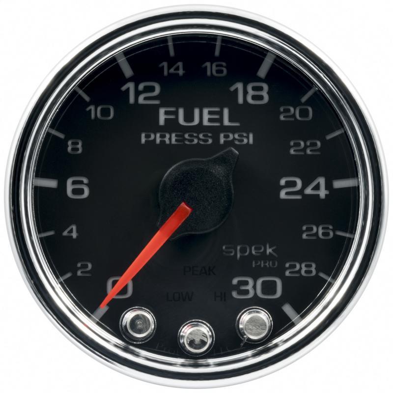 AutoMeter GAUGE; FUEL PRESS; 2 1/16in.; 30PSI; STEPPER MOTOR W/PEAK/WARN; BLK/CHRM; SPEK