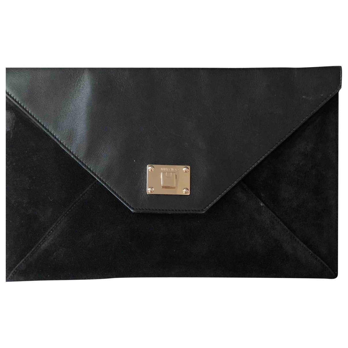 Jimmy Choo Rosetta Clutch in  Schwarz Veloursleder