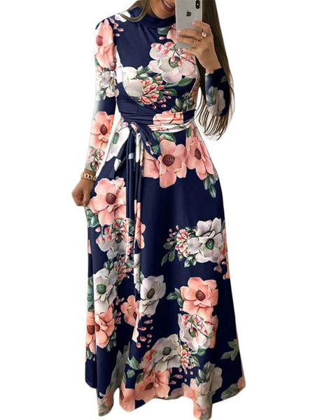 Milanoo Vestidos largos florales Vestido largo de cuello alto con cuello alto y mangas largas