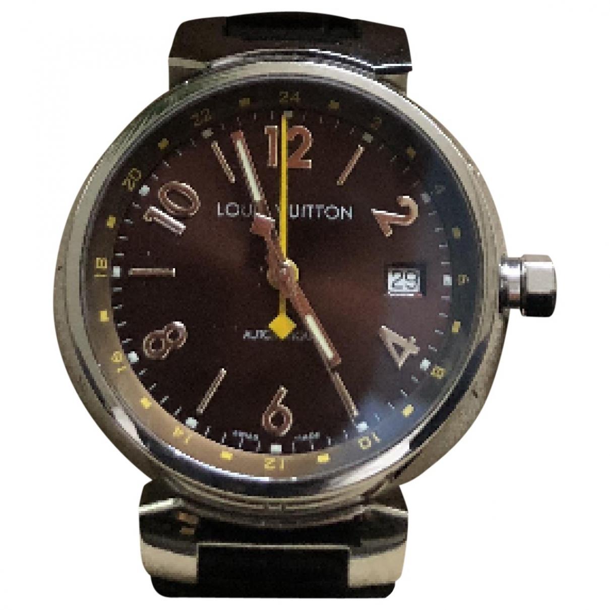 Louis Vuitton - Montre Tambour pour homme en acier - argente