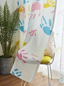 1pc Handprint Pattern Curtain