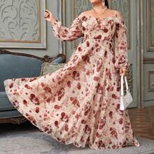 Plus Allover Floral Cold Shoulder Ruffle Trim Dress