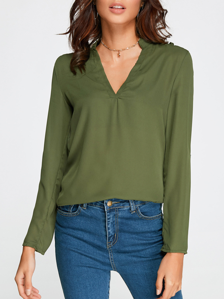Yoins Green Cut Out V-neck Long Sleeves Top