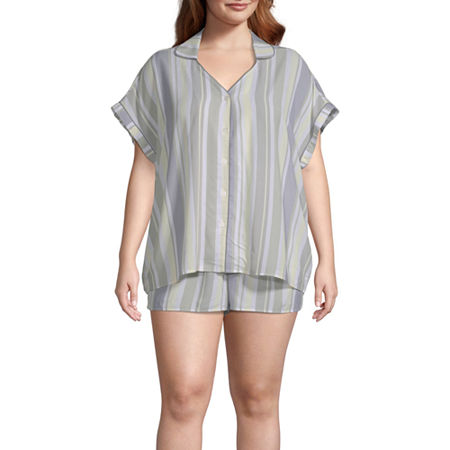 Ambrielle Short Sleeve Womens-Plus Shorts Pajama Set 2-pc., 1x , Green