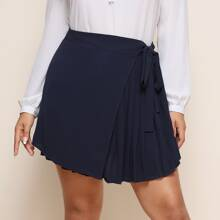 Plus Pleated Detail Knot Wrap Skort
