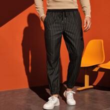 Men Striped Drawstring Waist Sweatpants