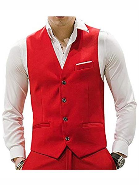 Mens Matching Waistcoat Causal Suit Vests & Pants Set Package Red