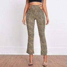 Pantalones Cut-out Leopardo Elegante