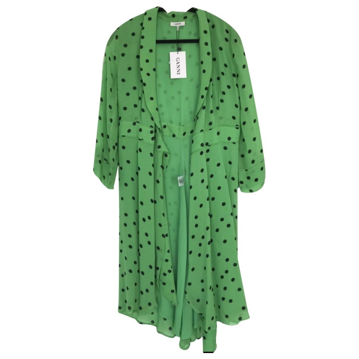 Ganni Spring Summer 2019 Kleid in  Gruen Synthetik