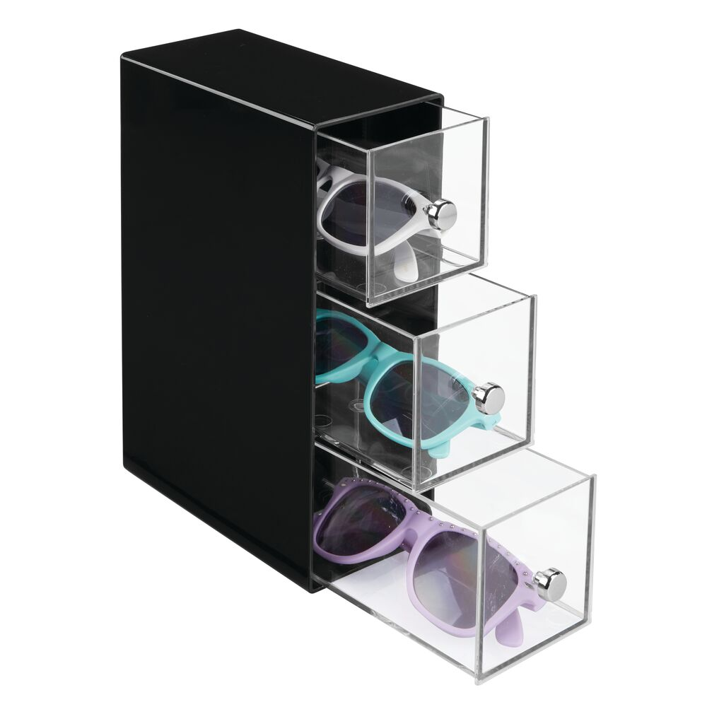 3 Drawer Plastic Eyeglass Storage Organizer Bo in Black/Clear, 7