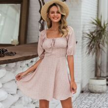 Tie Front Ditsy Floral Milkmaid Dress