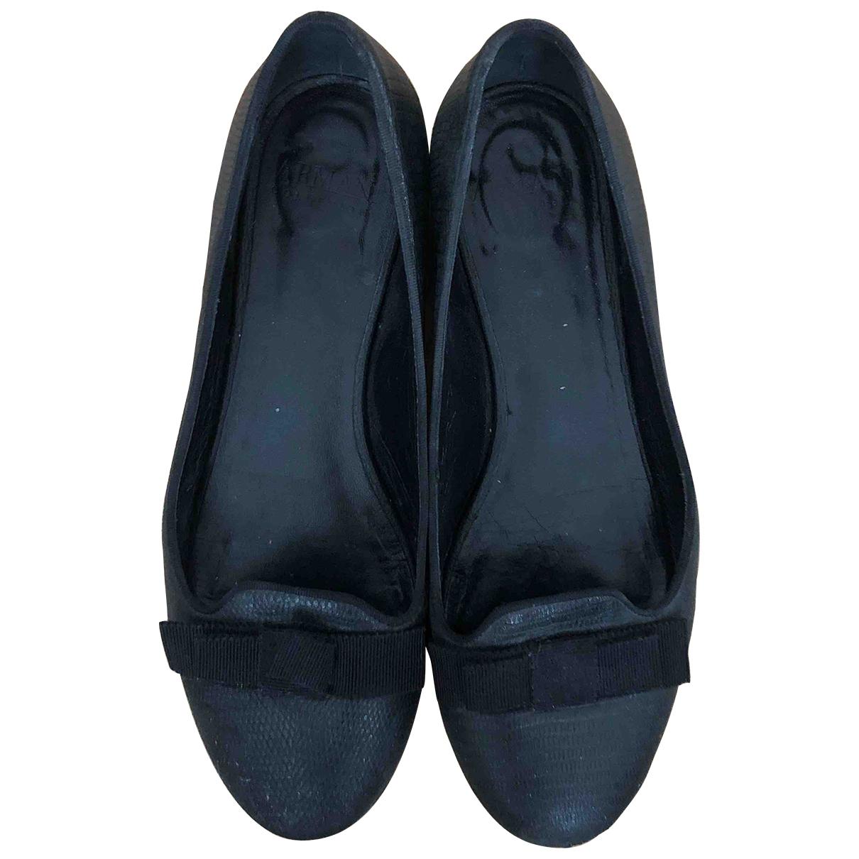 Armani Collezioni \N Black Leather Ballet flats for Women 4 UK