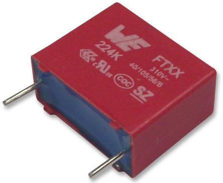 Wurth Elektronik 1.2μF Polypropylene Capacitor PP 310V ac ±10% Tolerance Through Hole WCAP-FTXX Series (2)