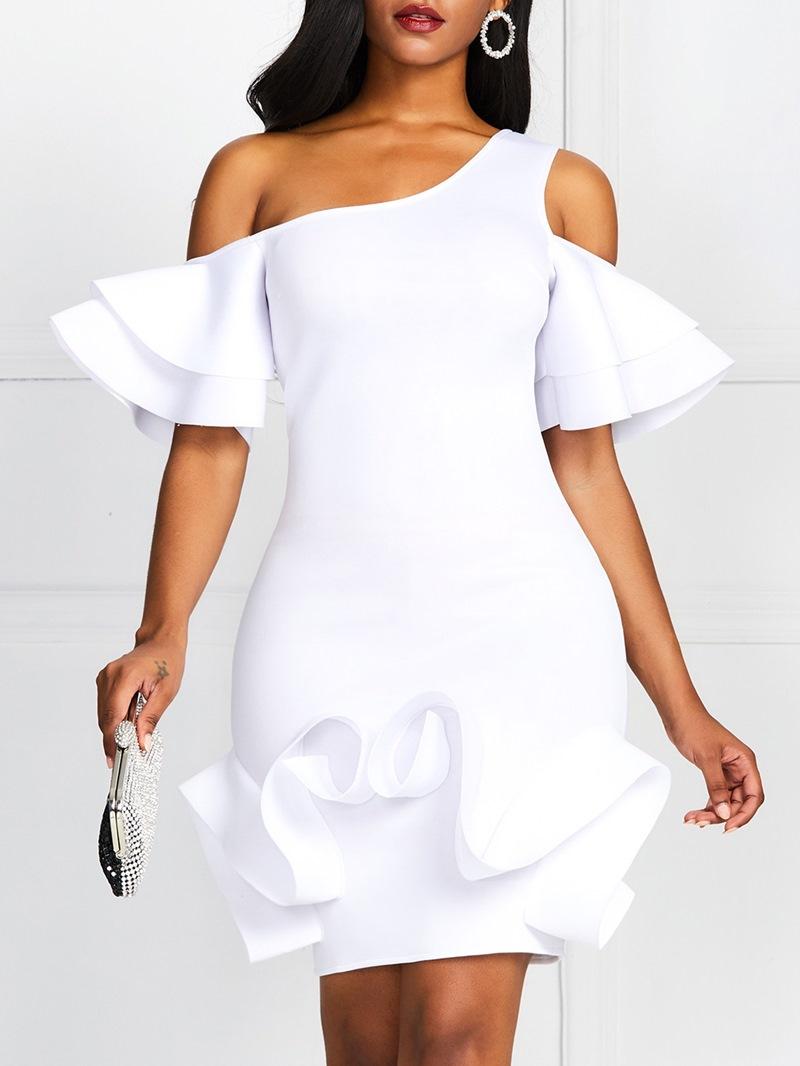Ericdress Ruffle Sleeve Oblique Collar Knee-Length Bodycon High Waist White Dress