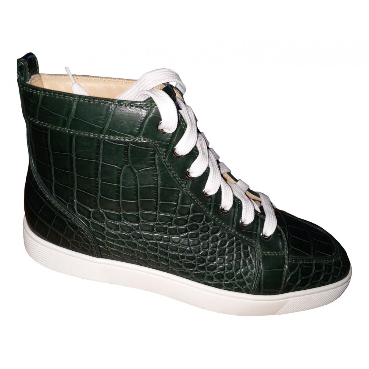 Christian Louboutin - Baskets Louis pour homme en crocodile - vert