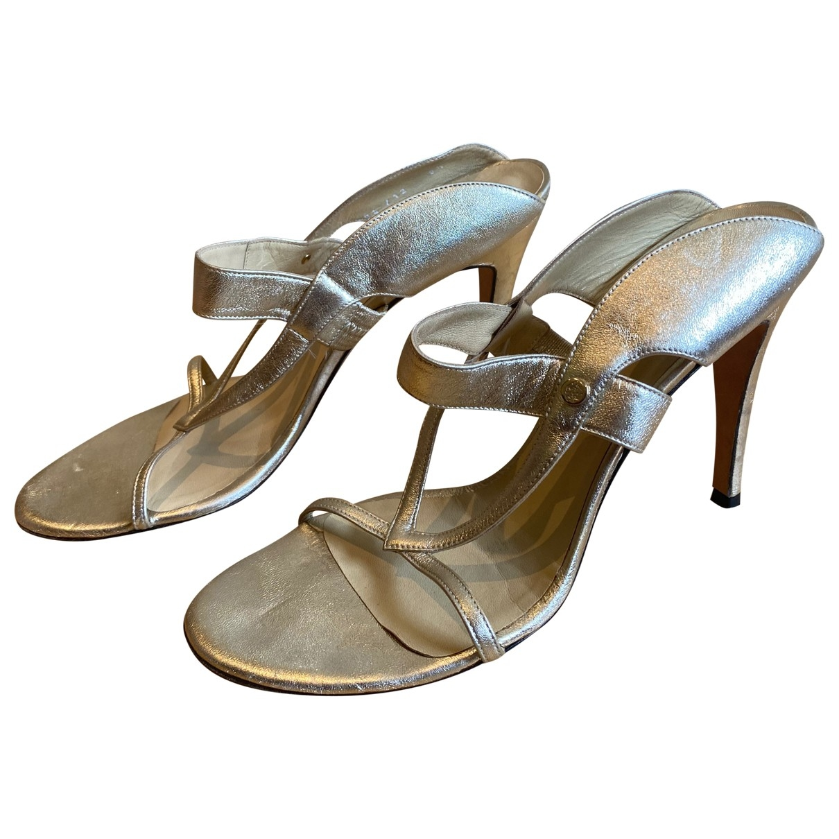 Versace \N Metallic Leather Heels for Women 39.5 EU