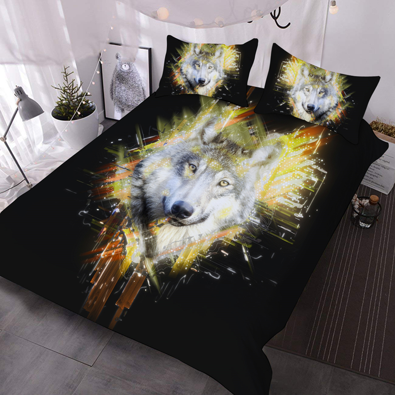 3D Buffy Wolf 3Pcs Warm Bedding Down Comforter Insert with 2 Pillow Cases