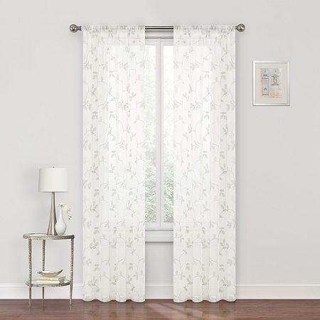 Regal Home Meadow Embroidered Sheer Rod-Pocket Single Curtain Panel, One Size , Beige