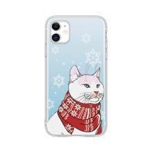 Christmas Cat & Snowflake Print iPhone Case