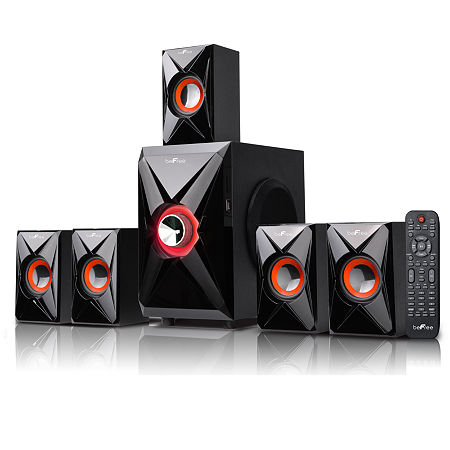 beFree Sound 5.1 Channel Surround Sound Bluetooth Speaker System- Orange, One Size , Orange