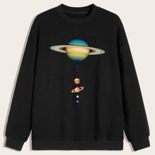 Men Planet Print Drop Shoulder Sweatshirt