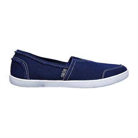 Skechers Bobs Womens B Cute Sailor & Siren Closed Toe Slip-On Shoe, 8 Medium, Blue