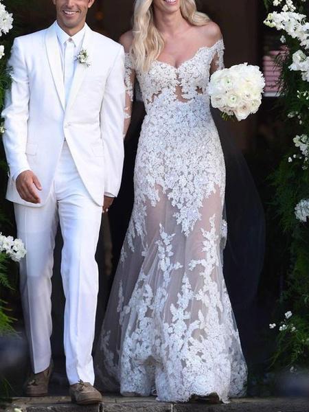 Milanoo Vestido de novia de marfil Sirena de manga larga con encaje fuera del hombro Vestidos de novia con tren Vestido de novia simple