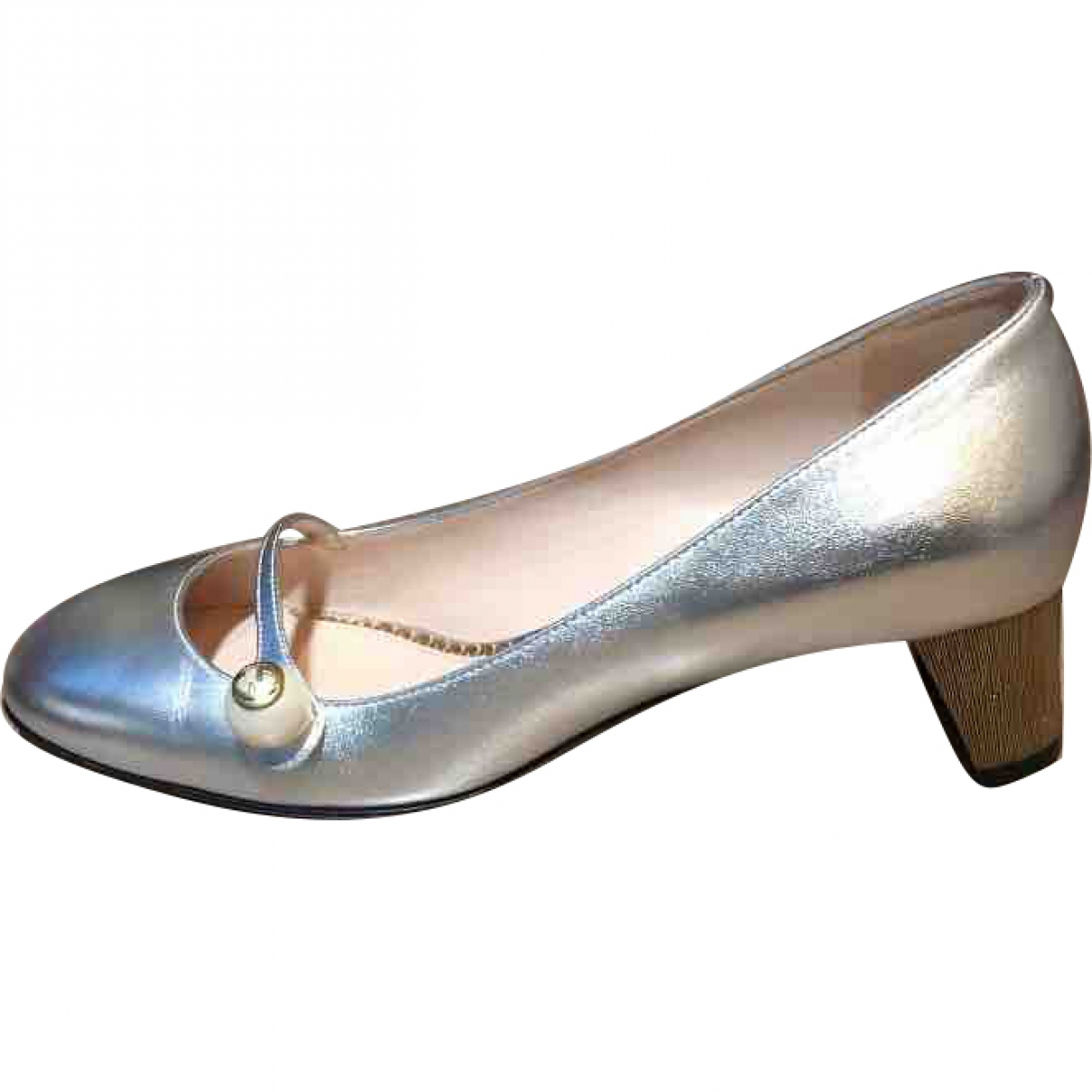 Gucci Arielle Silver Leather Heels for Women 38 EU