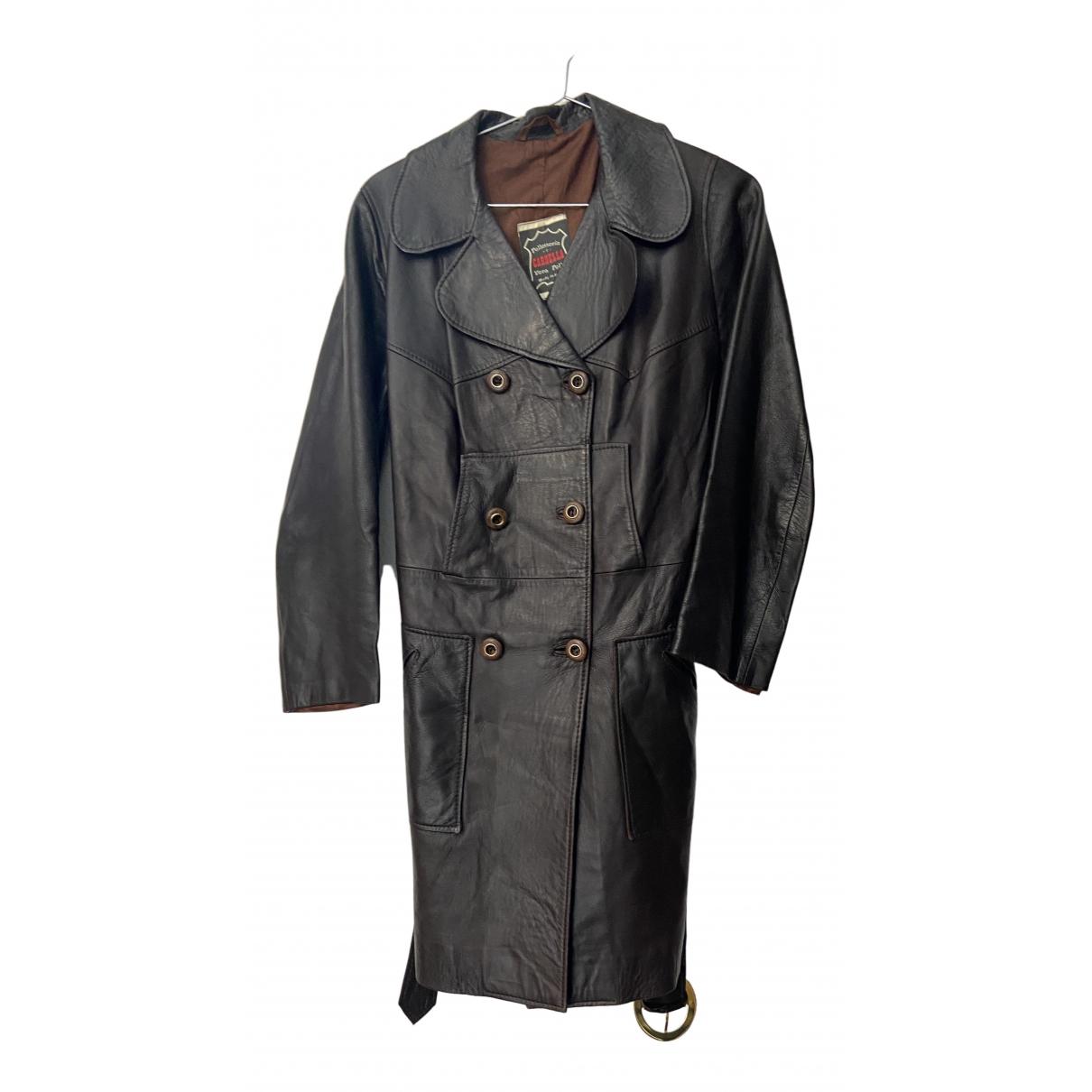 - Manteau   pour femme en cuir - noir