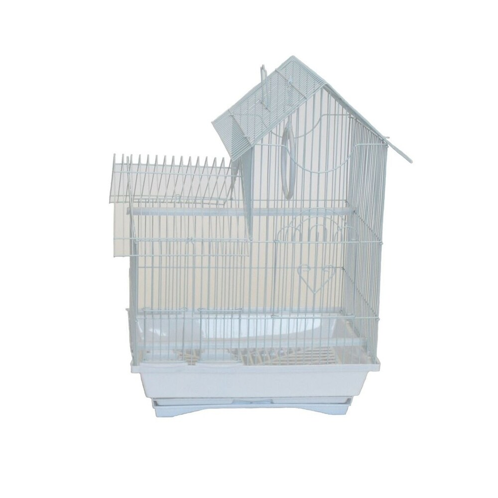 YML Pagoda Style Top Version 2 Bird Cage with Removable Plastic Tray - White