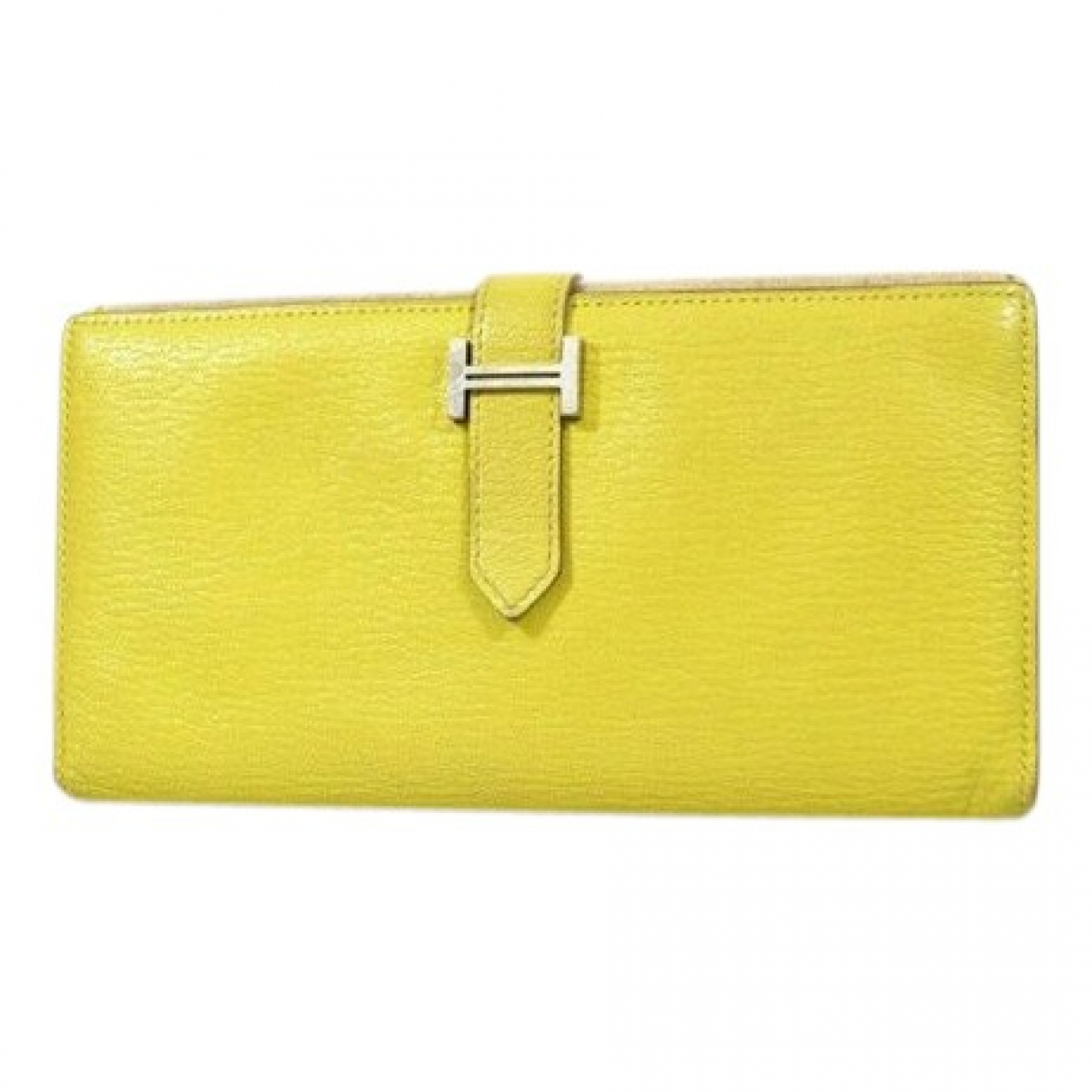 Hermes - Portefeuille Bearn pour femme en cuir - jaune