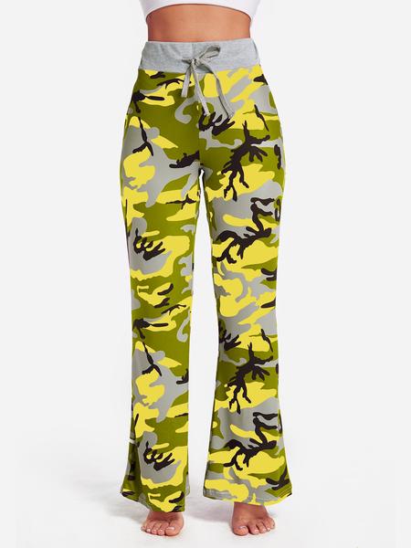 Yoins Yellow Camouflage Drawstring Waist Active Bottoms